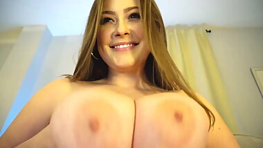 Busty thin brunette milf teasing her big tits