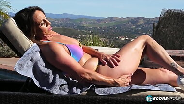 mature mom sunbathing her hot ass