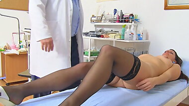 Young MILF caught naked in gyno office with hidden cam