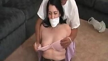 Milf Houswife get Bound and Gagged at Home on the Floor
