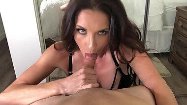 MILF Brunette SIlvia Sage sucks huge hard cock - POV