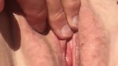 Pussy paying in park outside