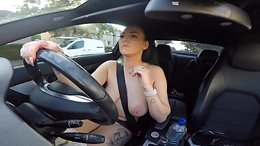 British Milf Driving Fully Naked to the SuperMarket.