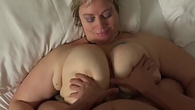 Horny BBW wife with huge boobs on homemade sextape