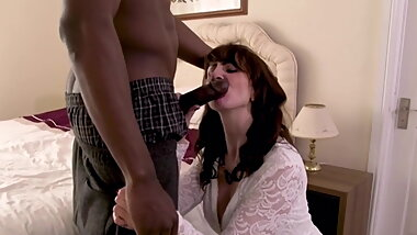 Milf Lustful over young black boys big black cock creampie.